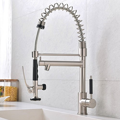 Best Kitchen Sink Faucets: VCCUCINE Best Commercail Brushed Nickel Pull Down Kitchen